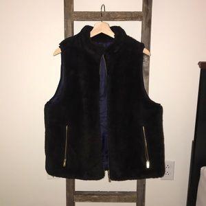 Black J Crew Fur Vest